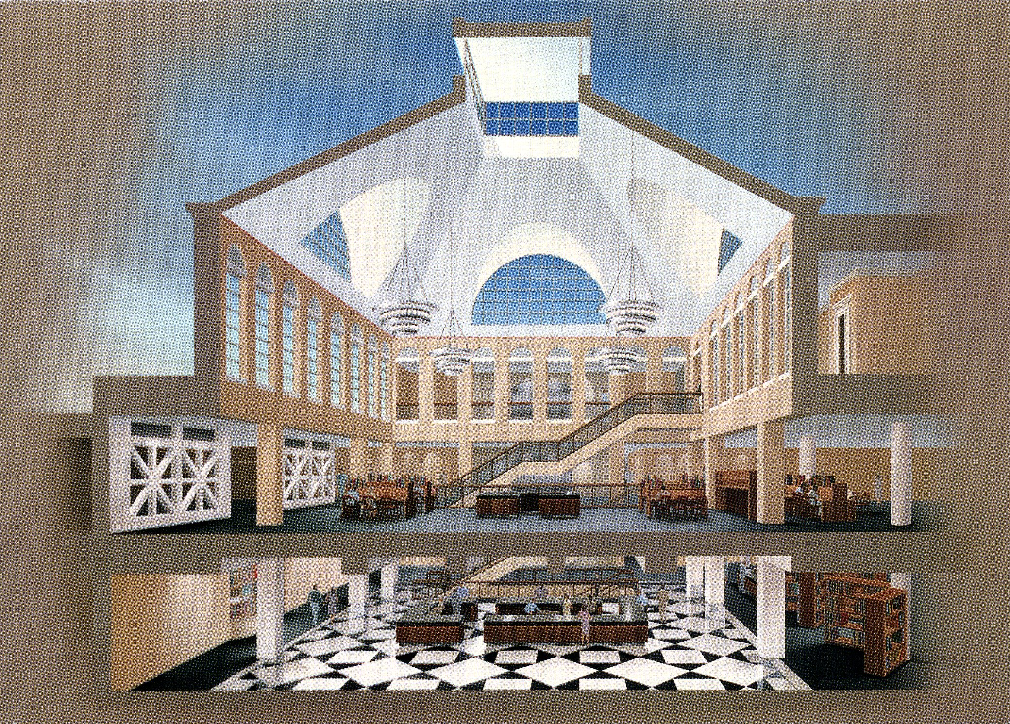 Drawing of interior of new building