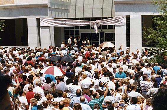Opening day crowds outside the new building