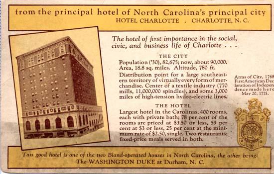 Hotel Charlotte Advertisement Charlotte Mecklenburg Story
