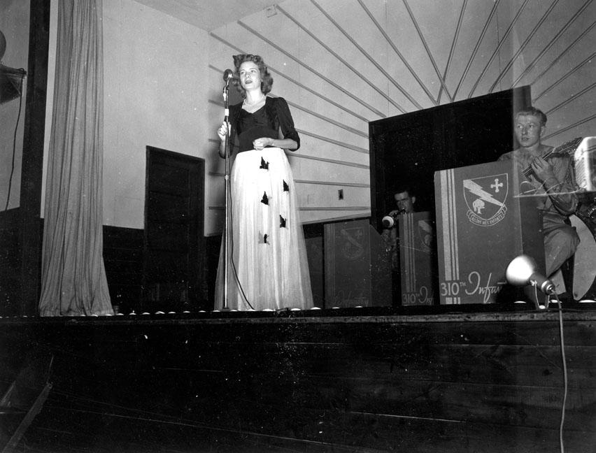 """Singer at Variety Show, 310th Infantry -78th Div, Camp Butner, N.C."""