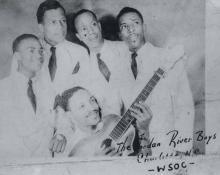 The Jordan River Boys had a regular gospel show on WSOC Radio in the 1940s. Clockwise from left: Clifton Horton, Albert Roseborough, William Hall, Lewis Roseborough, and Gene Horton. RAY FUNK.