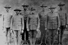 Charlotte doctors who served in the Howard University ROTC, c. 1920. Left to right: W. E. Hill, Russell Lewis, Hobart T. Allen, Lawrence McCrorey, J. N. Seabrooks, R. M. Wyche, Connie Jenkins. CAROLYN WYCHE.
