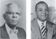 J. E. Grigsby, principal of Second Ward High School, 1931 - 1957. MIRIAM GRIGSBY BATES.  Right: Clinton L. Blake, first principal of West Charlotte High School, 1938 - 1966. ANITA BALDWIN.