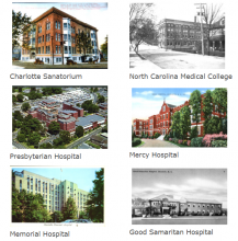 Six postcard views of early Charlotte hospitals