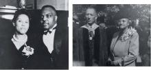 Dr. and Mrs. Theophilus McKinney. Dr. McKinney was academic dean of Johnson C. Smith University, 1929 - 1962, and Mrs. McKinney taught English in the Charlotte-Mecklenburg Schools. ELOISE McKINNEY JOHNSON. Right: Dr. and Mrs. Hardy Liston. Dr. Liston was president of Johnson C. Smith University from 1947 - 1956. AURELIA LISTON LAW.