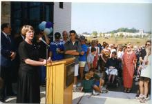 Carol Myers, Chief of Public Services, speaks at North County opening, 1997