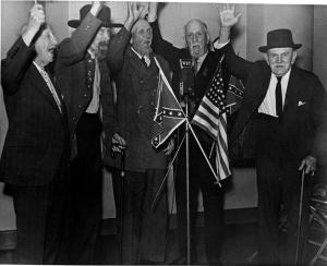 Five Confederate veterans from Mecklenburg Camp 382, who performed the Rebel yell live on WBT radio, Charlotte, NC.