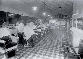 One of many black-owned barber shops, Service Barber Shop was located on North College Street. MILDRED ALRIDGE.