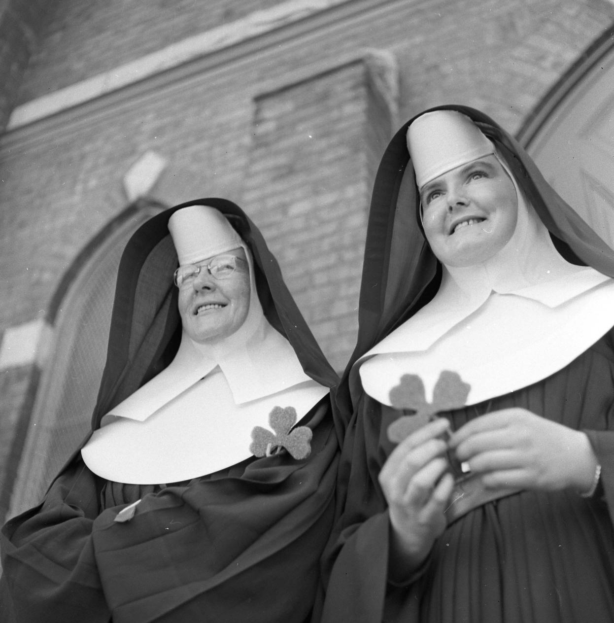 Nuns waved shamrocks in greeting