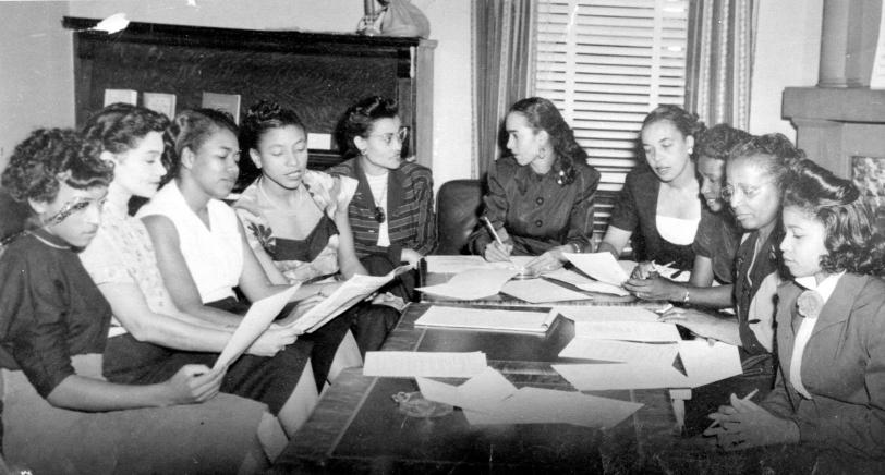 The planning committee of the Phyllis Wheatley YWCA, meeting in the late 1940s. The Phyllis Wheatley Branch was established in 1916. FLORETTA DOUGLAS GUNN.