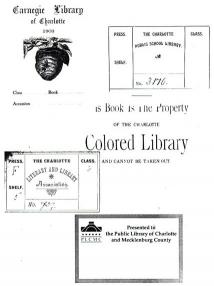 Bookplates used by the library over the past 100 years.