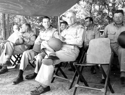 """Field Meet-Aug 14, 1943, 78th Div. Camp Butner, N.C. Vacant chair was for Libby! [Don's wife]"""