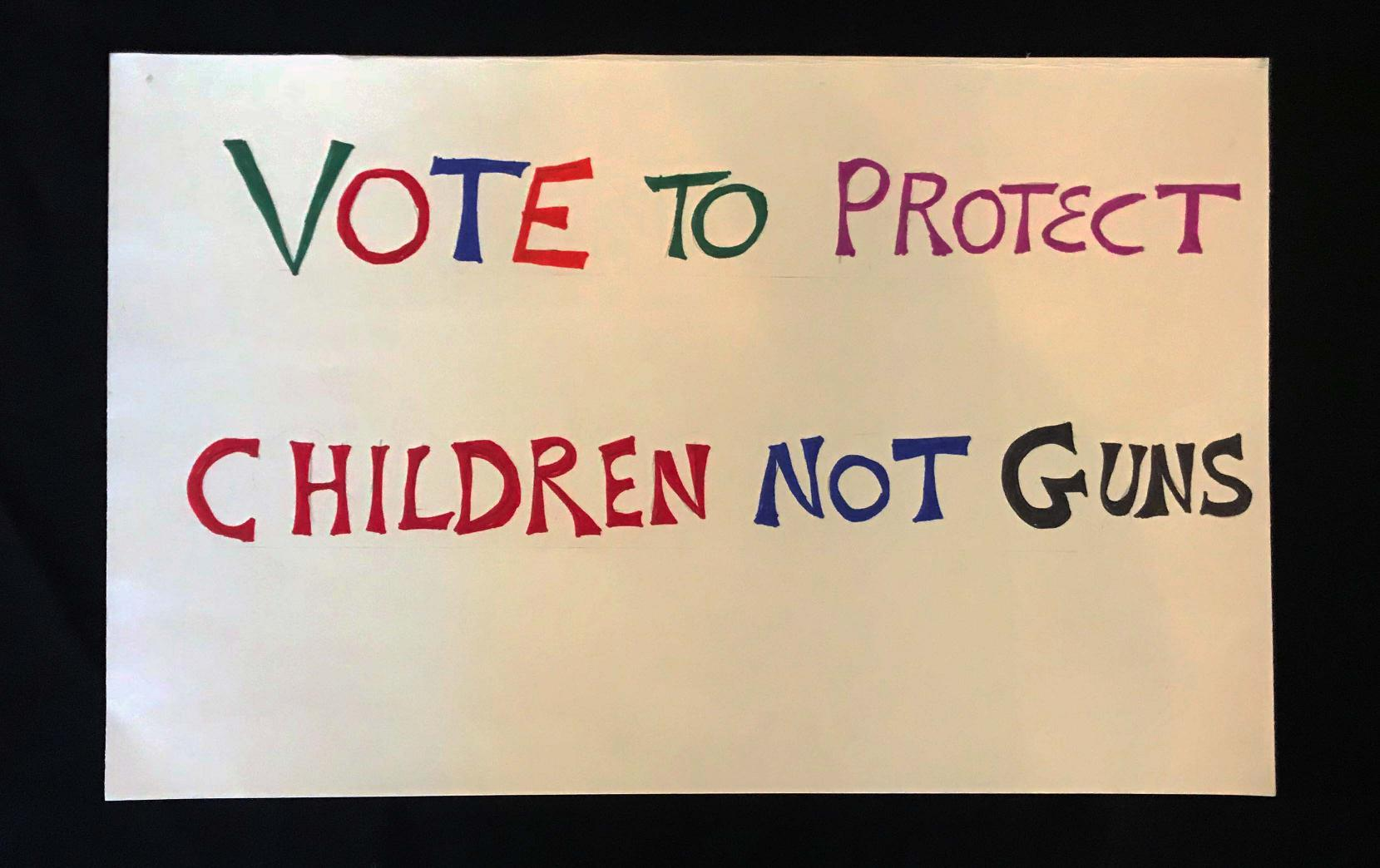 "Charlotte March for Our Lives, 2018. Sign reads: ""Vote to protect children, not guns."""
