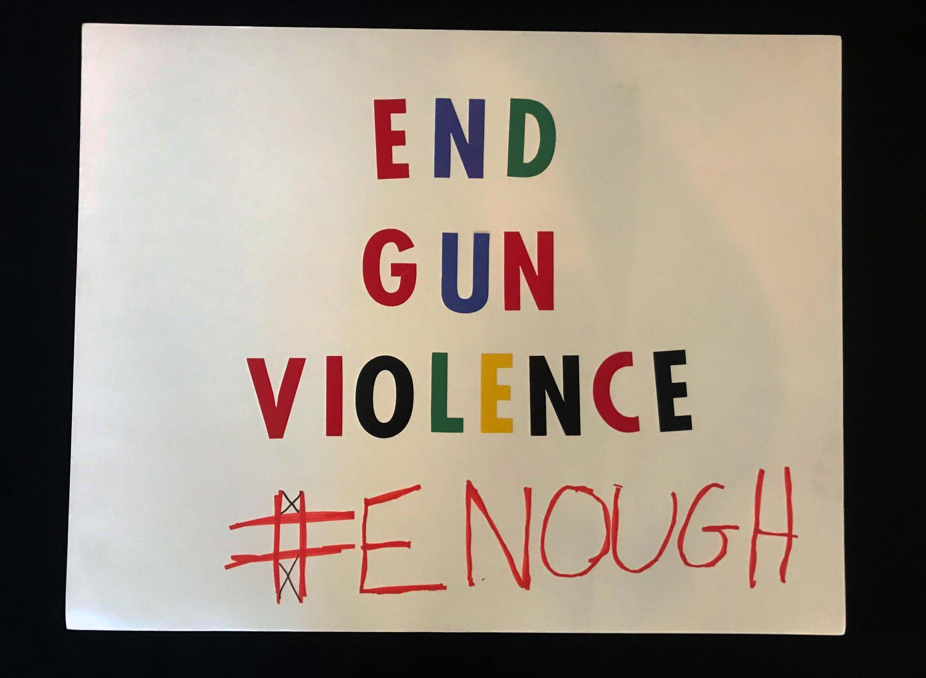 "Charlotte March for Our Lives, 2018. Sign reads: ""End gun violence. #enough"""
