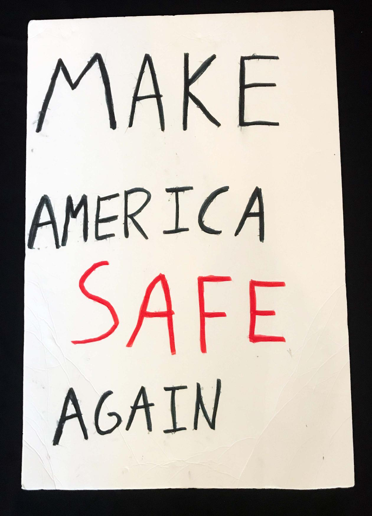 "Charlotte March for Our Lives, 2018. Sign reads: ""Make America safe again."""