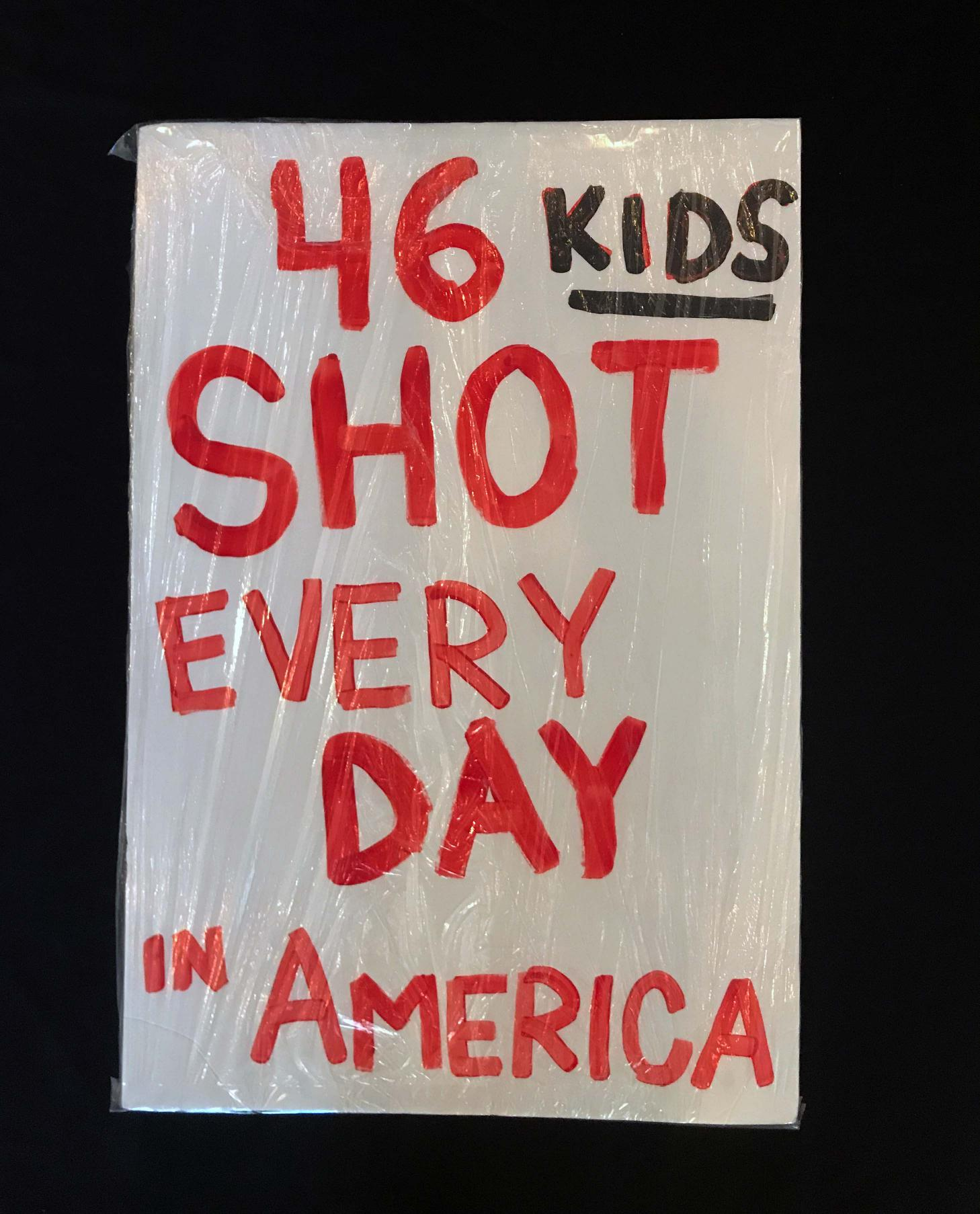 "Charlotte March for Our Lives, 2018. Sign reads: ""46 kids shot every day in America"""