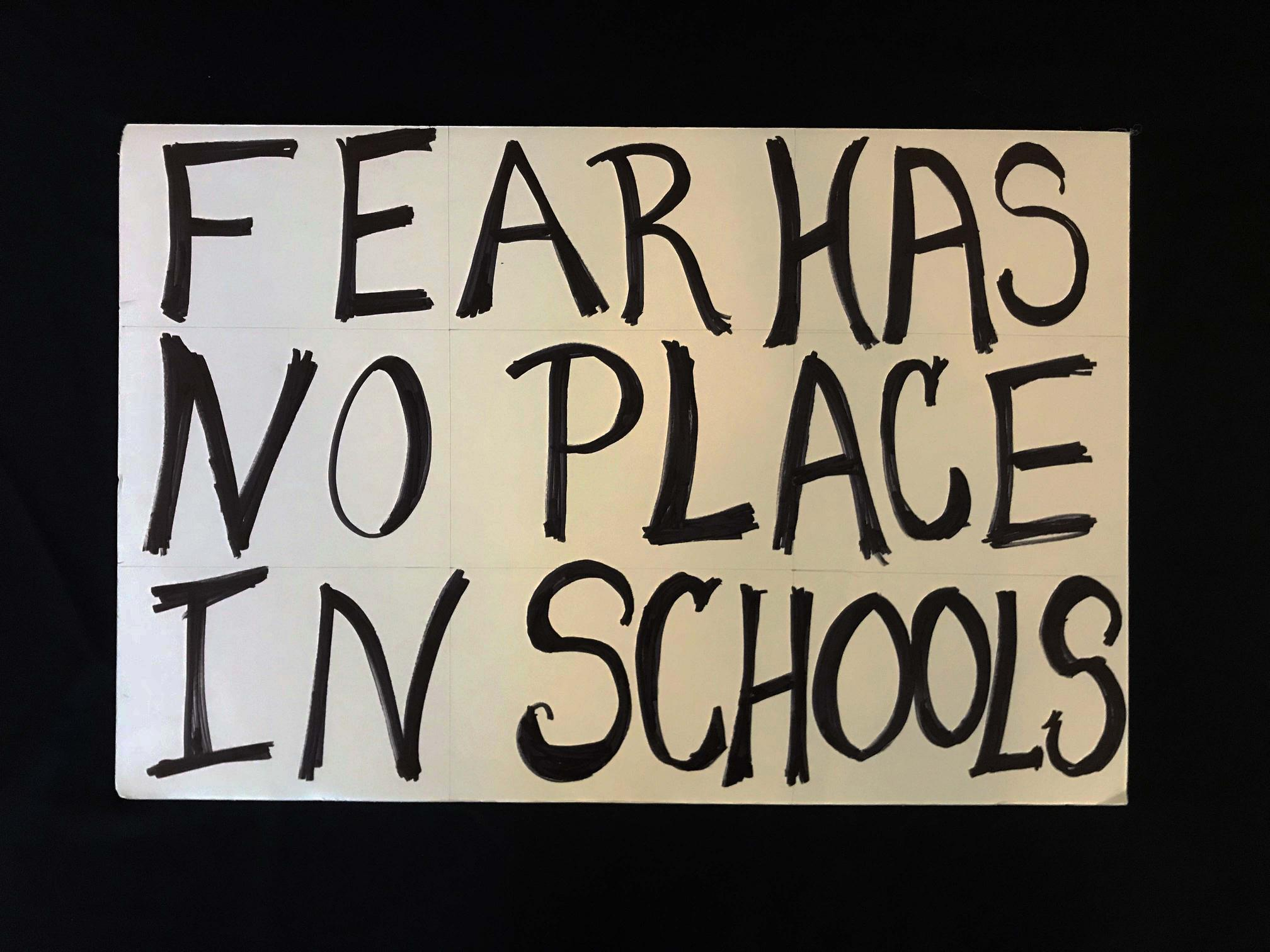 "Charlotte March for Our Lives, 2018. Sign reads: ""Fear has no place in schools."""