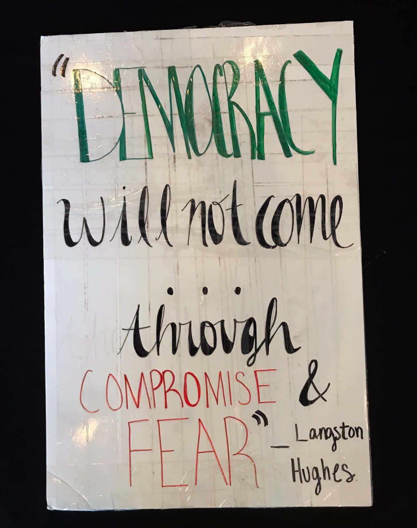 "Charlotte March for Our Lives, 2018. Sign reads: ""'Democracy will not come through compromise and fear.' - Langston Hughes"""