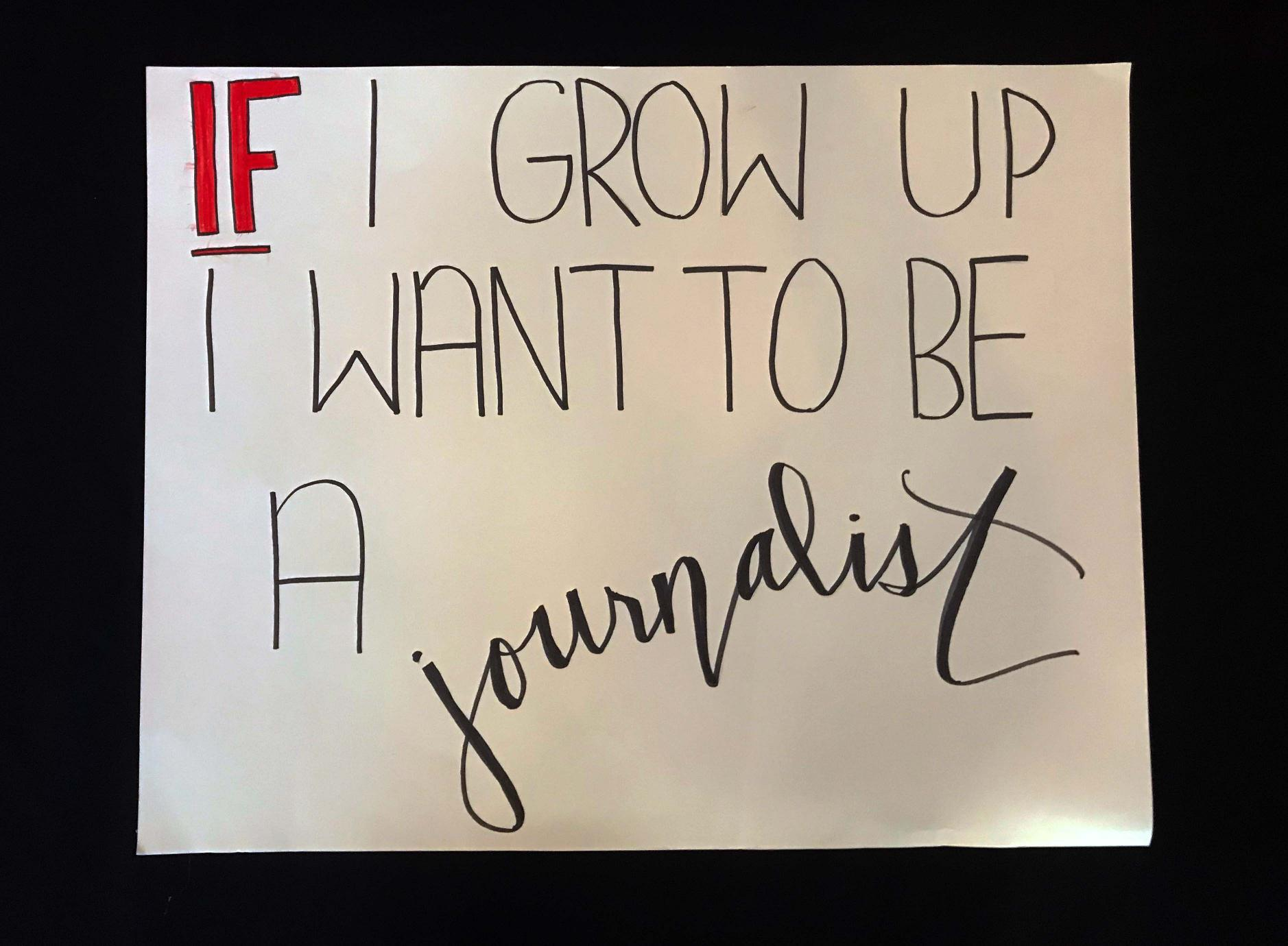 "Charlotte March for Our Lives, 2018. Sign reads: ""If I grow up, I want to be a journalist."""