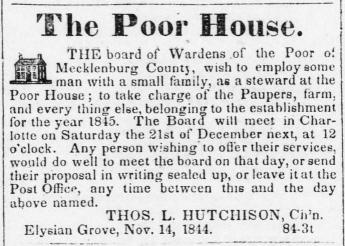 1844 ad for Steward of the Poor House