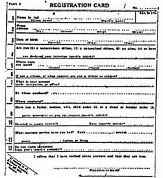 Registration Card, World War I