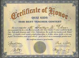 Quiz Kids Teacher Award