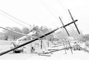 Power lines down - Hugo